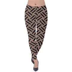 Woven2 Black Marble & Brown Colored Pencil (r) Velvet Leggings