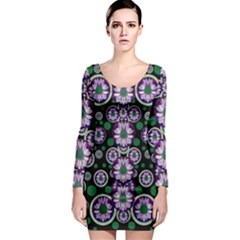 Fantasy Flower Forest  In Peacock Jungle Wood Long Sleeve Bodycon Dress by pepitasart