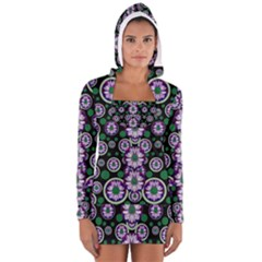 Fantasy Flower Forest  In Peacock Jungle Wood Women s Long Sleeve Hooded T Shirt by pepitasart