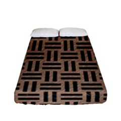 Woven1 Black Marble & Brown Colored Pencil (r) Fitted Sheet (full/ Double Size) by trendistuff