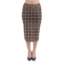 Woven1 Black Marble & Brown Colored Pencil (r) Midi Pencil Skirt by trendistuff