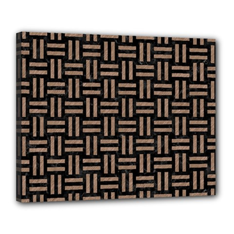 Woven1 Black Marble & Brown Colored Pencil Canvas 20  X 16  (stretched) by trendistuff