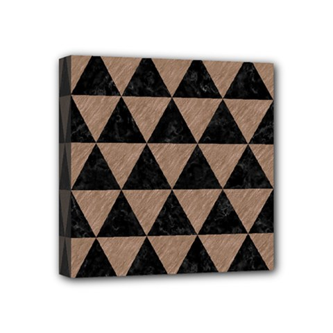 Triangle3 Black Marble & Brown Colored Pencil Mini Canvas 4  X 4  (stretched) by trendistuff