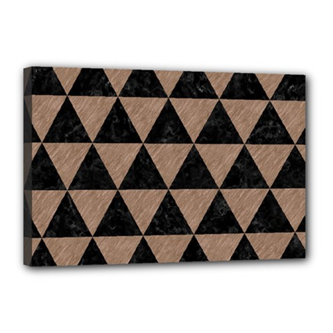 Triangle3 Black Marble & Brown Colored Pencil Canvas 18  X 12  (stretched) by trendistuff