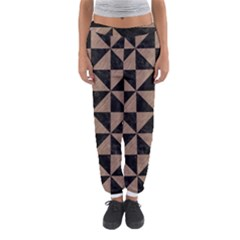 Triangle1 Black Marble & Brown Colored Pencil Women s Jogger Sweatpants by trendistuff