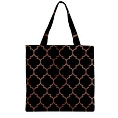 Tile1 Black Marble & Brown Colored Pencil Zipper Grocery Tote Bag by trendistuff