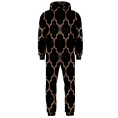 Tile1 Black Marble & Brown Colored Pencil Hooded Jumpsuit (men)