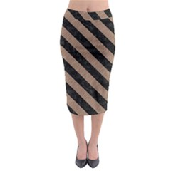 Stripes3 Black Marble & Brown Colored Pencil (r) Midi Pencil Skirt by trendistuff