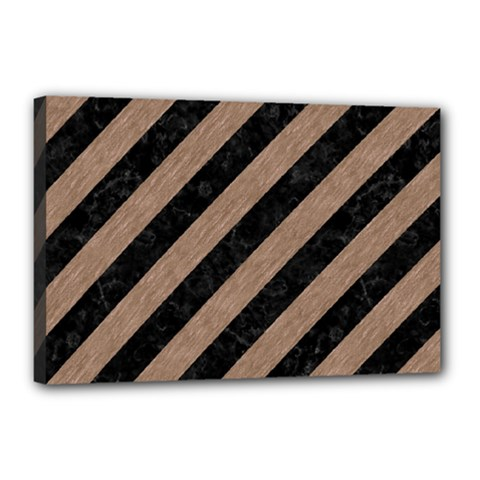 Stripes3 Black Marble & Brown Colored Pencil Canvas 18  X 12  (stretched) by trendistuff