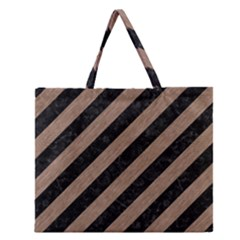 Stripes3 Black Marble & Brown Colored Pencil Zipper Large Tote Bag by trendistuff