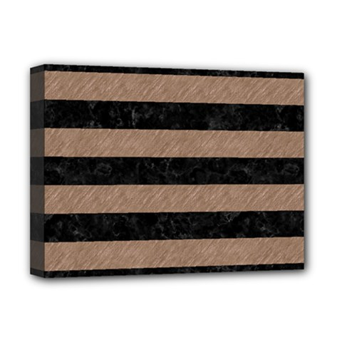 Stripes2 Black Marble & Brown Colored Pencil Deluxe Canvas 16  X 12  (stretched)  by trendistuff
