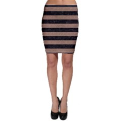 Stripes2 Black Marble & Brown Colored Pencil Bodycon Skirt by trendistuff