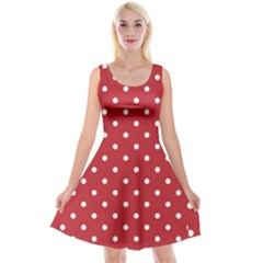 Red Polka Dots Reversible Velvet Sleeveless Dress by LokisStuffnMore