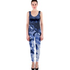 Blue Waves Abstract Art Onepiece Catsuit