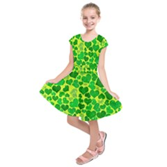 Sparkling Hearts, Green Kids  Short Sleeve Dress by MoreColorsinLife