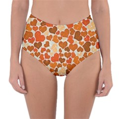 Sparkling Hearts,orange Reversible High-waist Bikini Bottoms by MoreColorsinLife