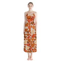 Sparkling Hearts,orange Button Up Chiffon Maxi Dress by MoreColorsinLife