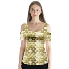 Cleopatras Gold Butterfly Sleeve Cutout Tee