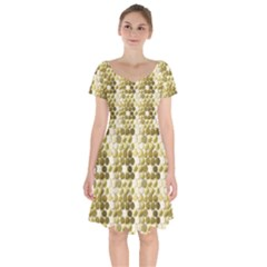 Cleopatras Gold Short Sleeve Bardot Dress