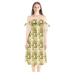 Cleopatras Gold Shoulder Tie Bardot Midi Dress by psweetsdesign