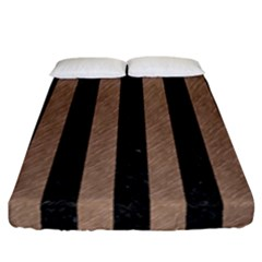 Stripes1 Black Marble & Brown Colored Pencil Fitted Sheet (california King Size) by trendistuff