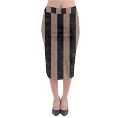 Stripes1 Black Marble & Brown Colored Pencil Midi Pencil Skirt by trendistuff