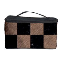 Square1 Black Marble & Brown Colored Pencil Cosmetic Storage Case by trendistuff