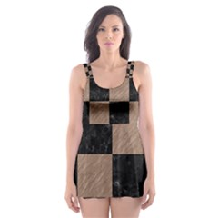 Square1 Black Marble & Brown Colored Pencil Skater Dress Swimsuit by trendistuff