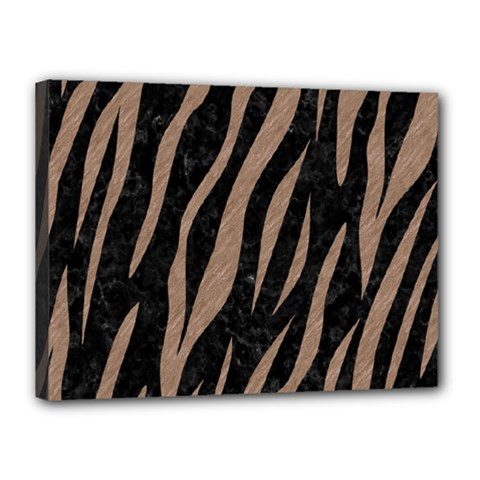 Skin3 Black Marble & Brown Colored Pencil Canvas 16  X 12  (stretched) by trendistuff