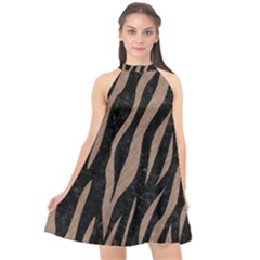Skin3 Black Marble & Brown Colored Pencil Halter Neckline Chiffon Dress