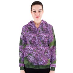 Purple Flowers On Vt Shrub With Kitten Women s Zipper Hoodie by SusanFranzblau