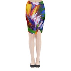 Palms02 Midi Wrap Pencil Skirt by psweetsdesign