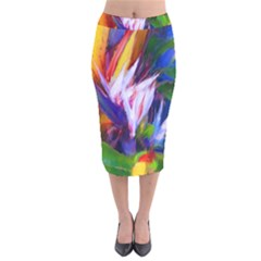 Palms02 Velvet Midi Pencil Skirt by psweetsdesign