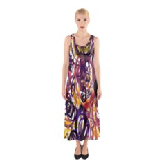 Autumnn Rainbow Sleeveless Maxi Dress