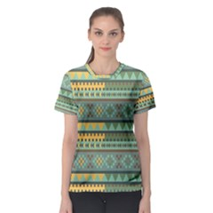 Bezold Effect Traditional Medium Dimensional Symmetrical Different Similar Shapes Triangle Green Yel Women s Sport Mesh Tee