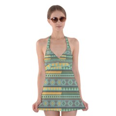 Bezold Effect Traditional Medium Dimensional Symmetrical Different Similar Shapes Triangle Green Yel Halter Swimsuit Dress