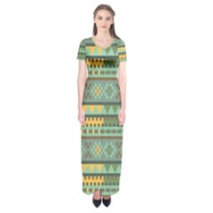 Bezold Effect Traditional Medium Dimensional Symmetrical Different Similar Shapes Triangle Green Yel Short Sleeve Maxi Dress by Mariart