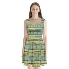 Bezold Effect Traditional Medium Dimensional Symmetrical Different Similar Shapes Triangle Green Yel Split Back Mini Dress  by Mariart