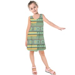 Bezold Effect Traditional Medium Dimensional Symmetrical Different Similar Shapes Triangle Green Yel Kids  Sleeveless Dress