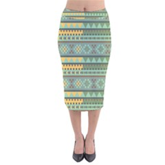 Bezold Effect Traditional Medium Dimensional Symmetrical Different Similar Shapes Triangle Green Yel Velvet Midi Pencil Skirt by Mariart