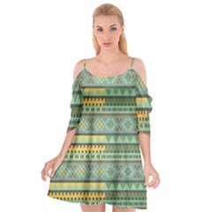 Bezold Effect Traditional Medium Dimensional Symmetrical Different Similar Shapes Triangle Green Yel Cutout Spaghetti Strap Chiffon Dress by Mariart