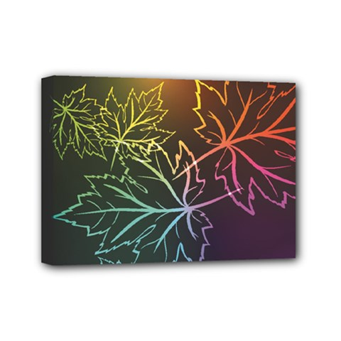 Beautiful Maple Leaf Neon Lights Leaves Marijuana Mini Canvas 7  X 5  by Mariart