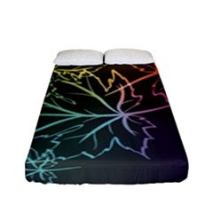 Beautiful Maple Leaf Neon Lights Leaves Marijuana Fitted Sheet (full/ Double Size) by Mariart