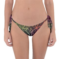 Beautiful Maple Leaf Neon Lights Leaves Marijuana Reversible Bikini Bottom