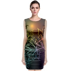 Beautiful Maple Leaf Neon Lights Leaves Marijuana Classic Sleeveless Midi Dress