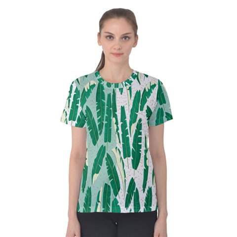 Banana Leaf Green Polka Dots Women s Cotton Teecotton Tee by Mariart
