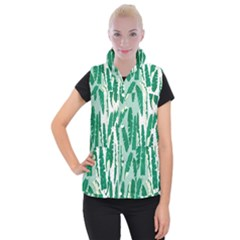 Banana Leaf Green Polka Dots Women s Button Up Puffer Vest by Mariart