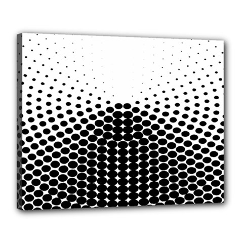 Black White Polkadots Line Polka Dots Canvas 20  X 16  by Mariart