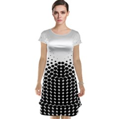 Black White Polkadots Line Polka Dots Cap Sleeve Nightdress