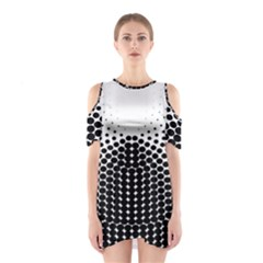 Black White Polkadots Line Polka Dots Shoulder Cutout One Piece by Mariart